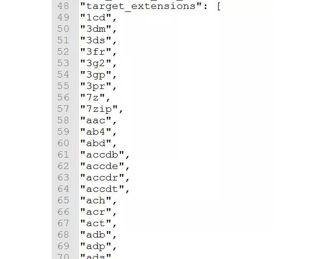 支持加密的部分文件后缀